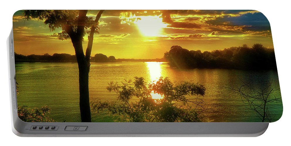 Sunset Portable Battery Charger featuring the digital art Golden Hour Beautiful Light by Lilia D