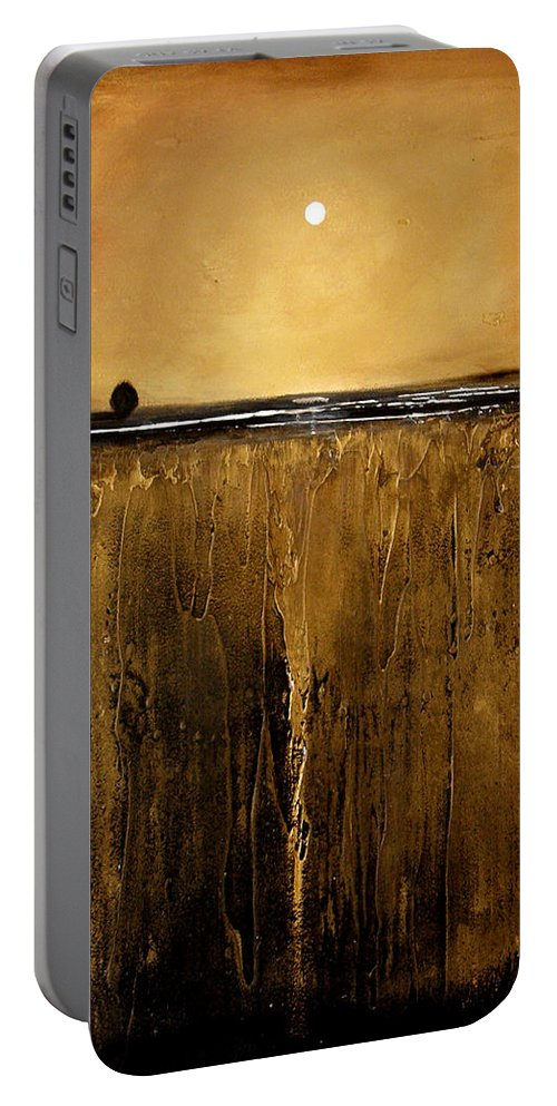 Minimalist Portable Battery Charger featuring the painting Golden Inspirations by Toni Grote