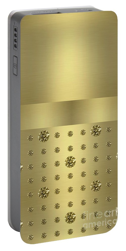 Gold Portable Battery Charger featuring the digital art Golden Jewels Digital Art by Anne Kitzman