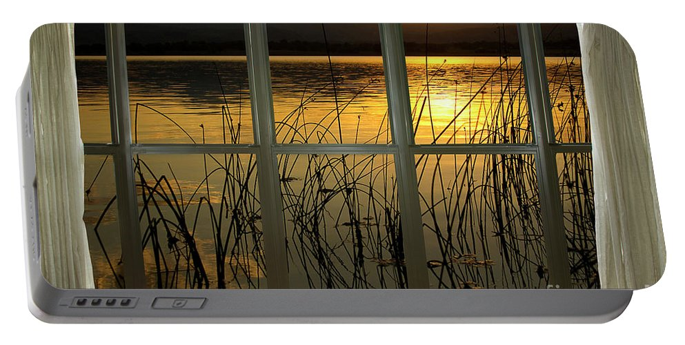 'window Canvas Wraps' Portable Battery Charger featuring the photograph Golden Lake Bay Picture Window View by James BO Insogna