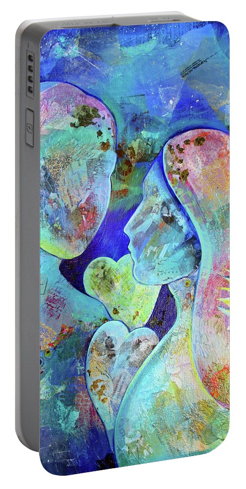 Anniversary Love Couple Marriage Special Occasion Loving Travel Embrace Future Past Blue Sunflower Heart Travel Travels Memories Memento 50th Hearts Gold Golden Anniversary Celebrate Nostalgia Portable Battery Charger featuring the painting Golden Memories by Shadia Derbyshire