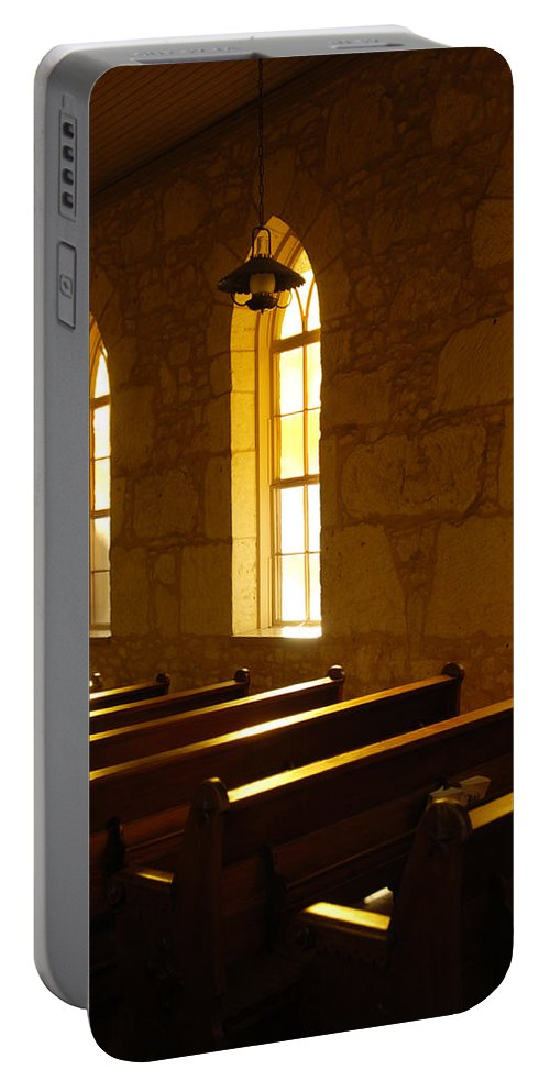 Worship Portable Battery Charger featuring the photograph Golden Pews by Jill Reger