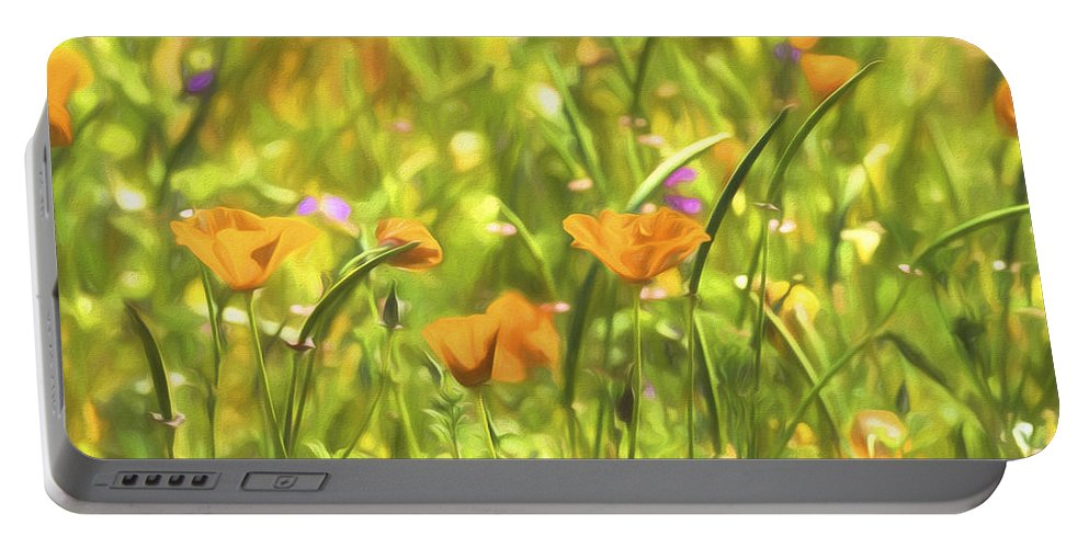 Poppies Portable Battery Charger featuring the photograph Golden Poppies In A Gentle Breeze by Saija Lehtonen