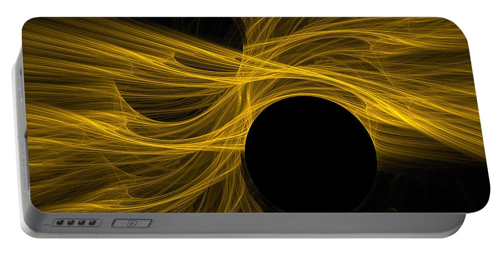 Gold Portable Battery Charger featuring the digital art Golden Rays by Deborah Benoit