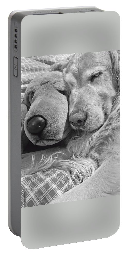 Golden Retriever Portable Battery Charger featuring the photograph Golden Retriever Dog And Friend by Jennie Marie Schell
