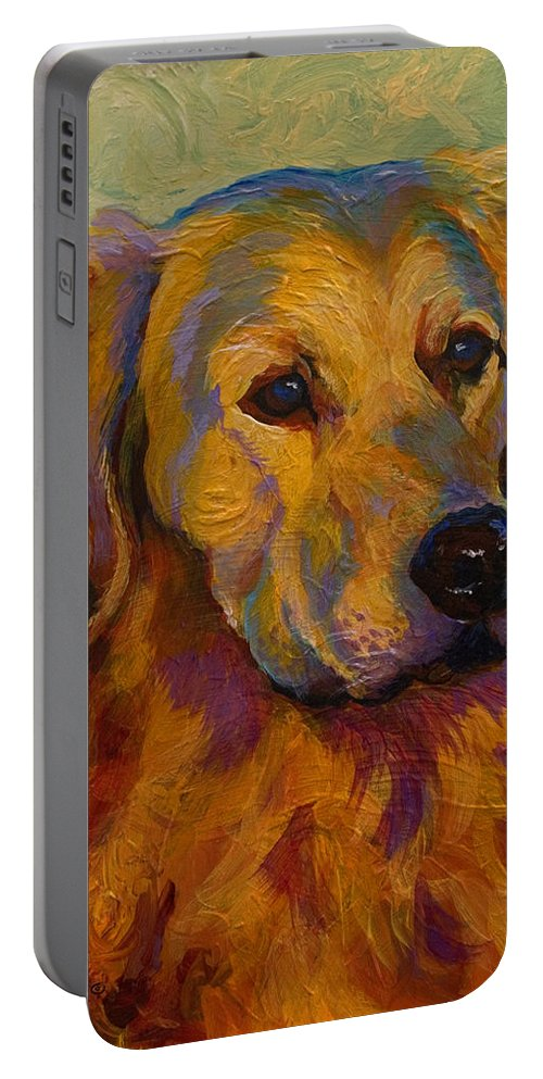 Golden Portable Battery Charger featuring the painting Golden Retriever by Marion Rose