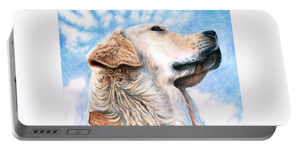 Dog Portable Battery Charger featuring the painting Golden Retriever by Nicole Zeug