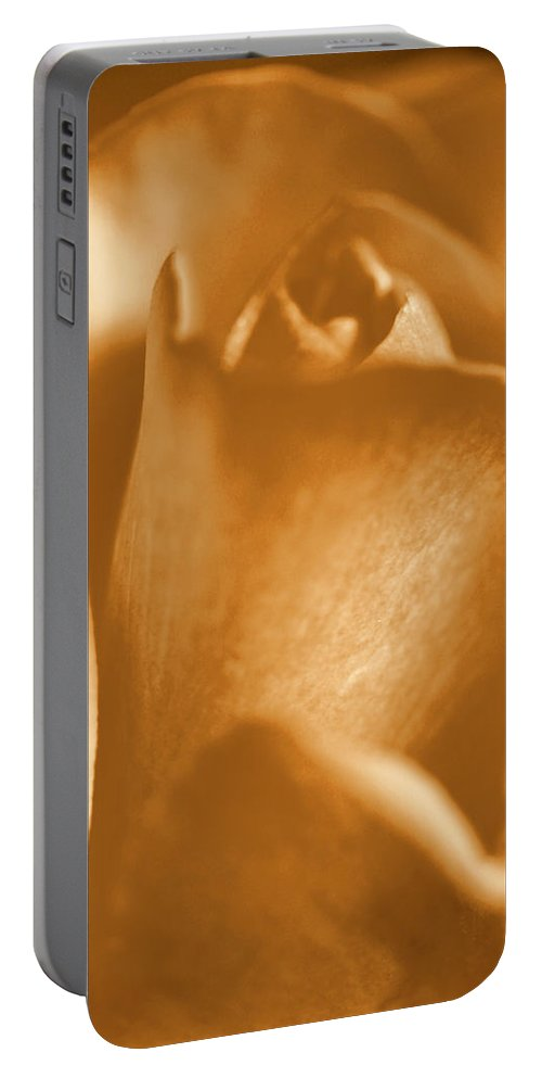 Rose Portable Battery Charger featuring the photograph Golden Rose Bud by Amy Fose