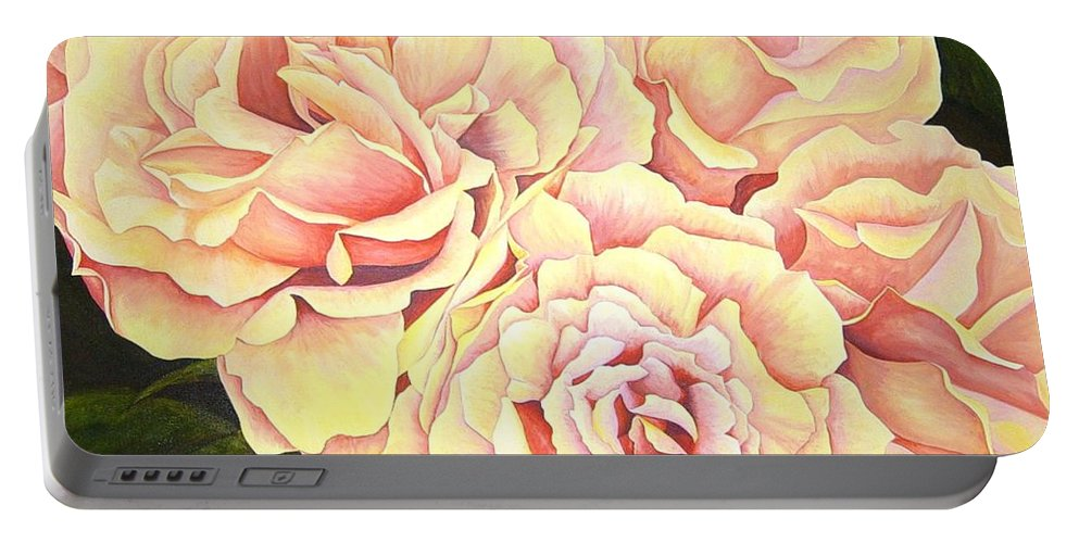 Roses Portable Battery Charger featuring the painting Golden Roses by Rowena Finn