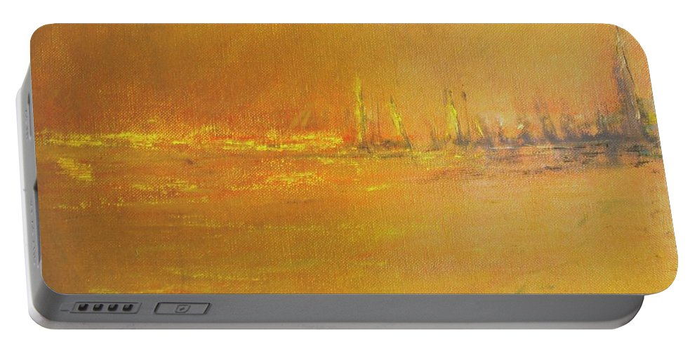 Ships Portable Battery Charger featuring the painting Golden Sky by Jack Diamond