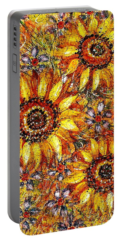 Sunflowers Portable Battery Charger featuring the painting Golden Sunflower by Natalie Holland