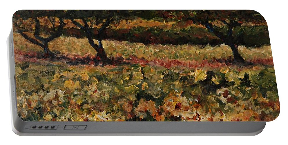 Landscape Portable Battery Charger featuring the painting Golden Sunflowers by Nadine Rippelmeyer