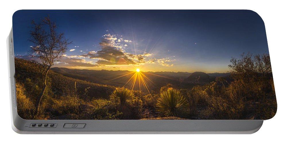 Desert Portable Battery Charger featuring the photograph Golden Sunlight Desert Scene by Luis Lyons