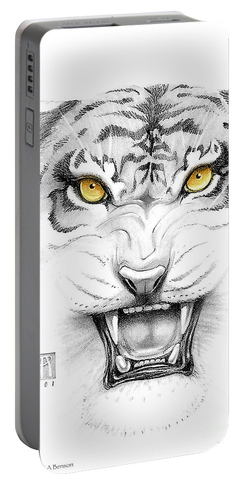Amber Portable Battery Charger featuring the digital art Golden Tiger Eyes by Melissa A Benson