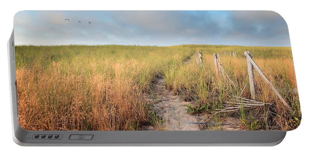 The Cape Cod National Seashore Portable Battery Charger featuring the photograph Golden Trail by Bill Wakeley