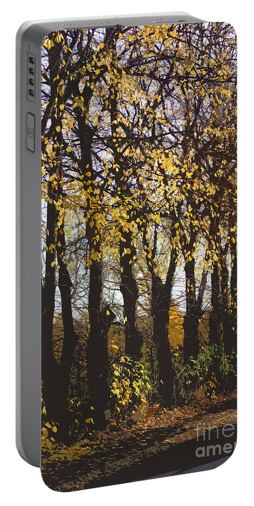 Abstract Portable Battery Charger featuring the digital art Golden Trees 1 by Carol Lynch