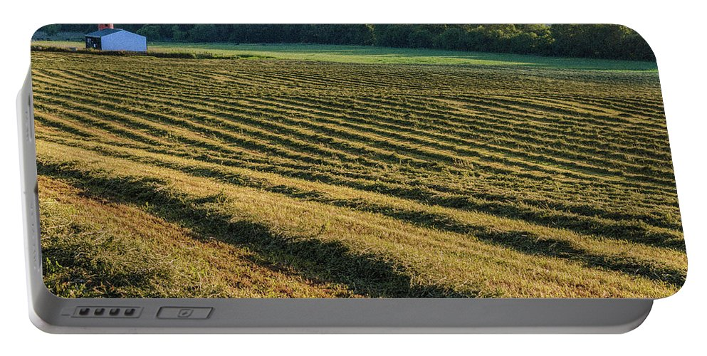 Farm Life Portable Battery Charger featuring the photograph Golden Windrows by Jim Love