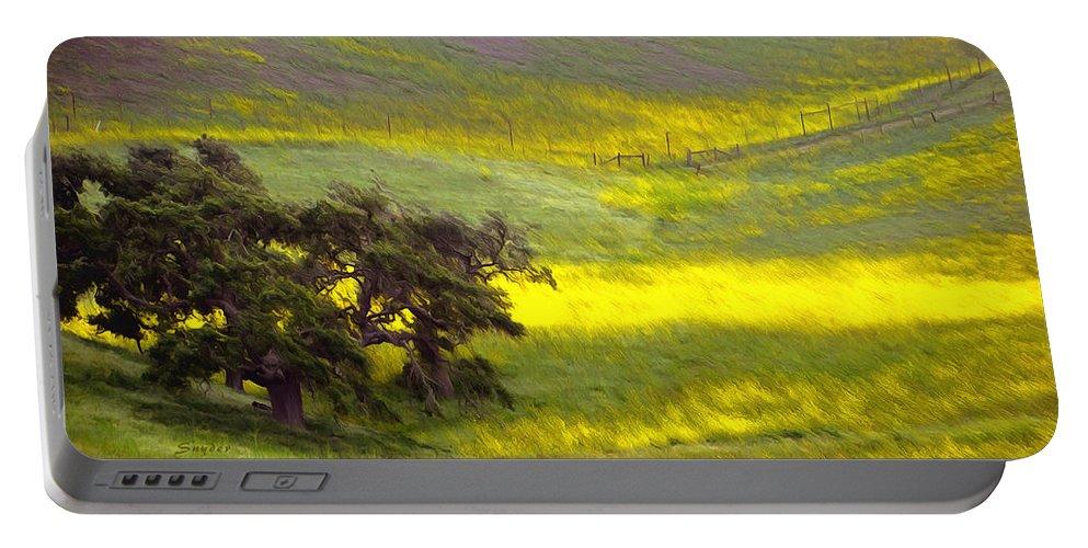Barbara Snyder Portable Battery Charger featuring the digital art Goldenrod Oak Santa Ynez California 2 by Barbara Snyder