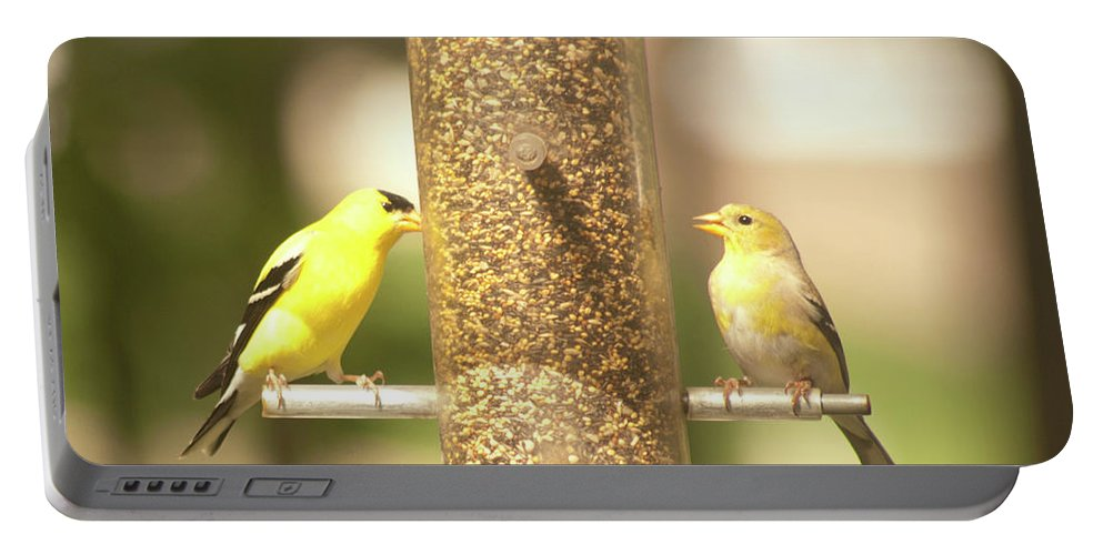 Goldfinch Portable Battery Charger featuring the photograph Goldfinch by Diane Schuler