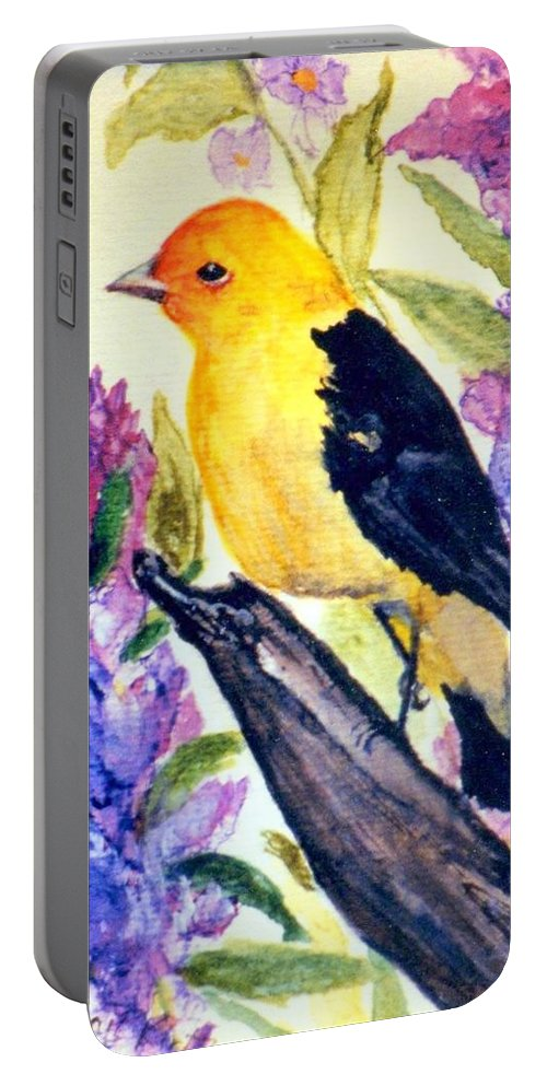 Birds Portable Battery Charger featuring the painting Goldfinch by Gail Kirtz