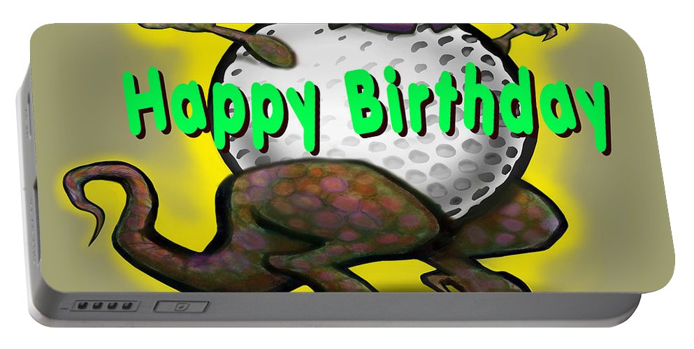 Golf Portable Battery Charger featuring the greeting card Golf A Saurus Birthday by Kevin Middleton
