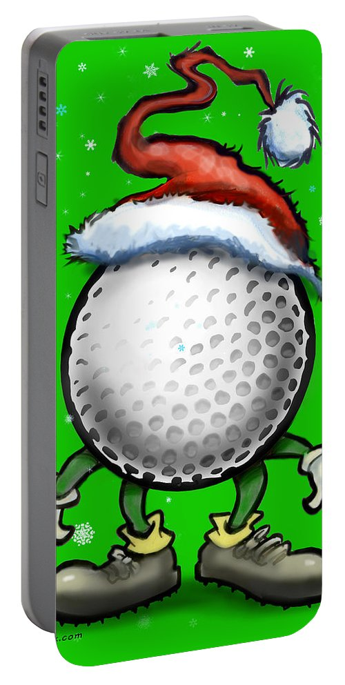 Golf Portable Battery Charger featuring the digital art Golf Christmas by Kevin Middleton