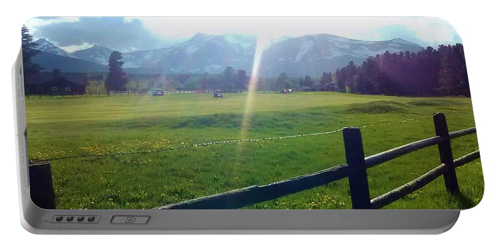 Mountains Portable Battery Charger featuring the photograph Golf Course Sun Rays by Eric Fellegy