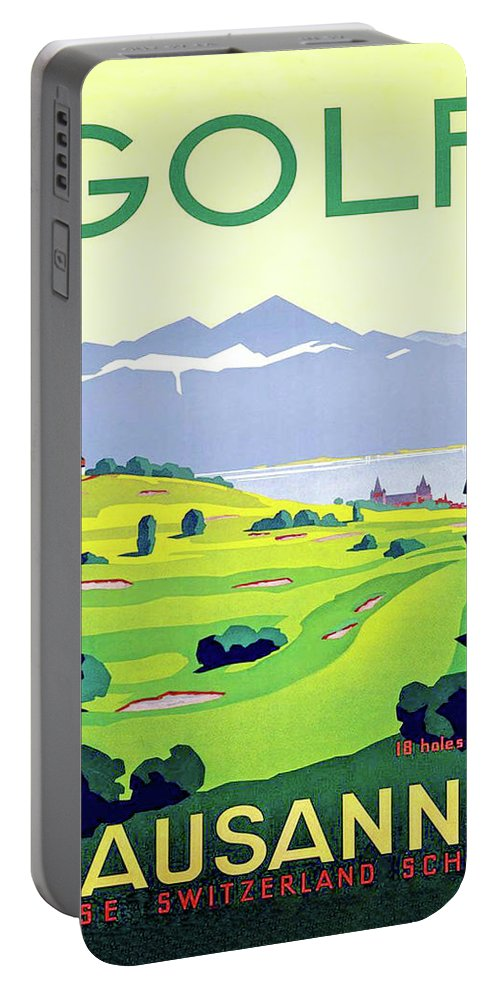 Golf Portable Battery Charger featuring the digital art Golf, Lausanne, Switzerland, Travel Poster by Long Shot