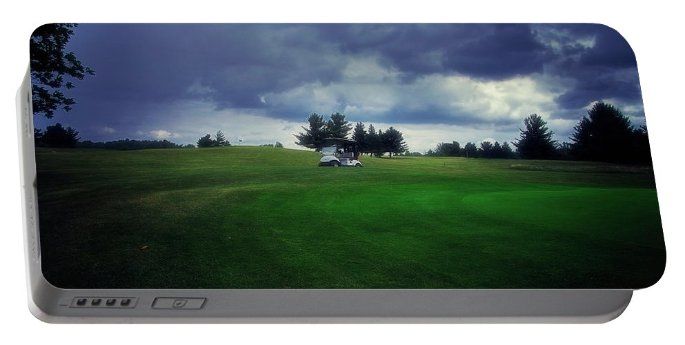 Golfing Portable Battery Charger featuring the photograph Golfing Before The Rain Golf Cart 01 by Thomas Woolworth