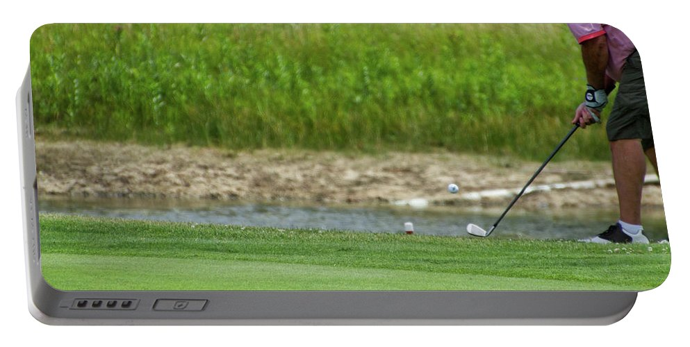 New York Portable Battery Charger featuring the photograph Golfing Chipping The Ball In Flight by Thomas Woolworth