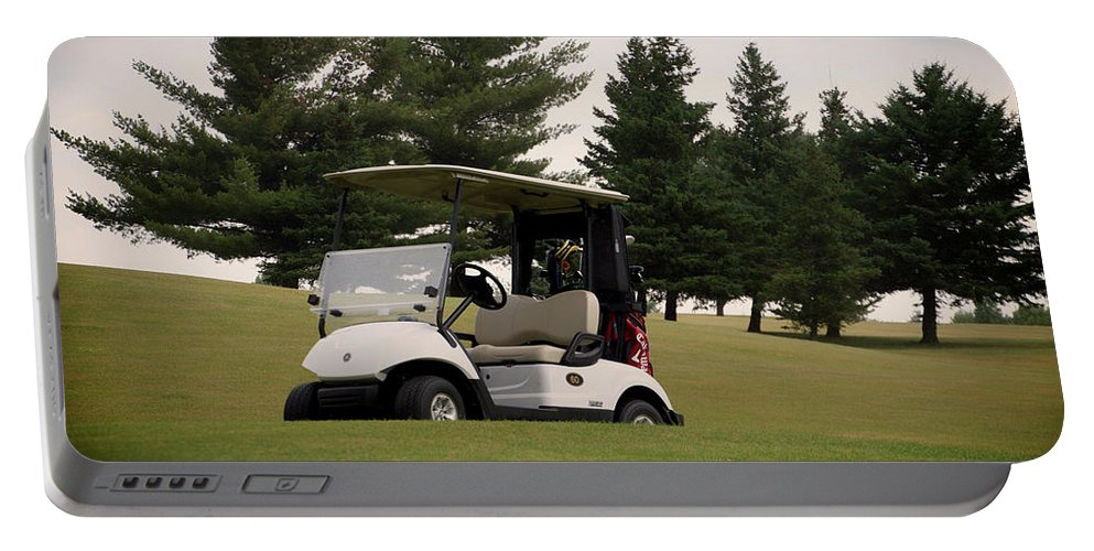 Golfing Portable Battery Charger featuring the photograph Golfing Golf Cart 01 by Thomas Woolworth