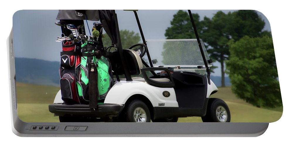Tully New York Portable Battery Charger featuring the photograph Golfing Golf Cart 05 by Thomas Woolworth