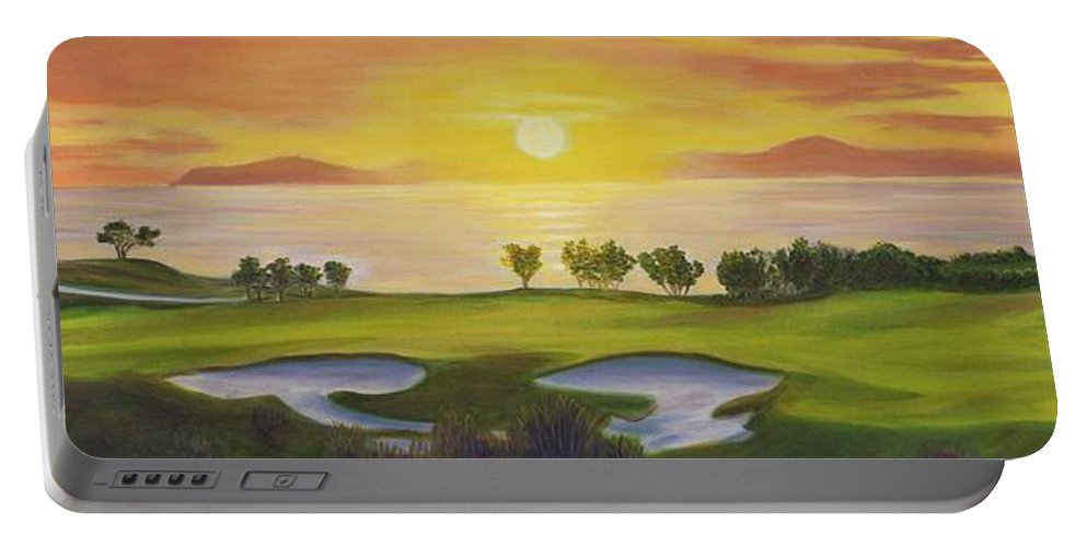 Golf Portable Battery Charger featuring the painting Golfing Heaven by Nicolas Nomicos