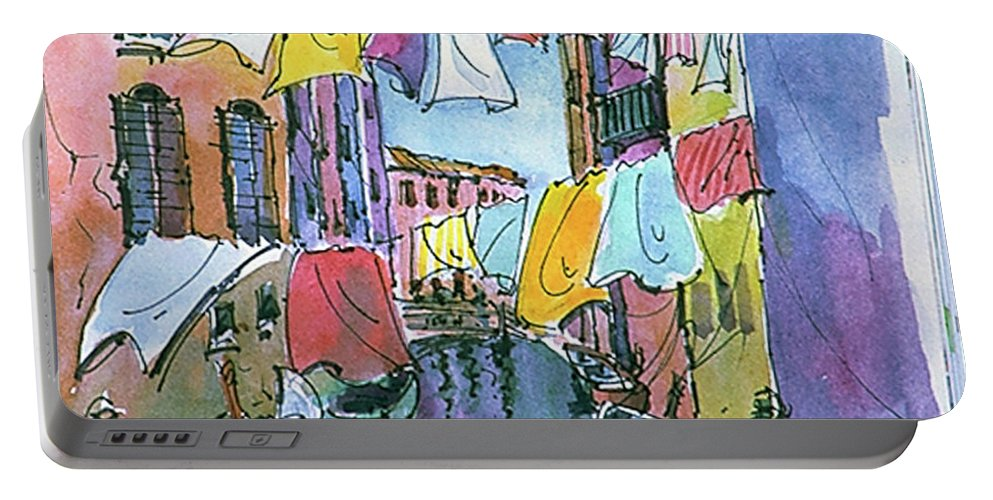 Venice Italy Vaporetto Gondola Canals Art History City State Portable Battery Charger featuring the photograph Gondola In A Venetian Canal by Mike Goldstein