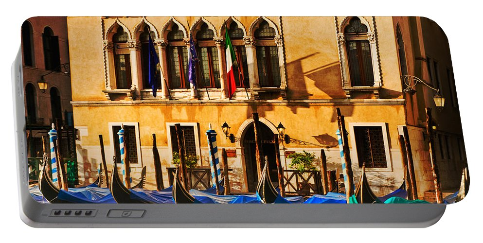 Venice Portable Battery Charger featuring the photograph Gondola Parking Only by Mick Burkey