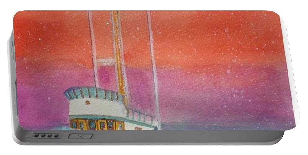 Ocean Portable Battery Charger featuring the painting Gone Fishing At Midnight by Hal Newhouser