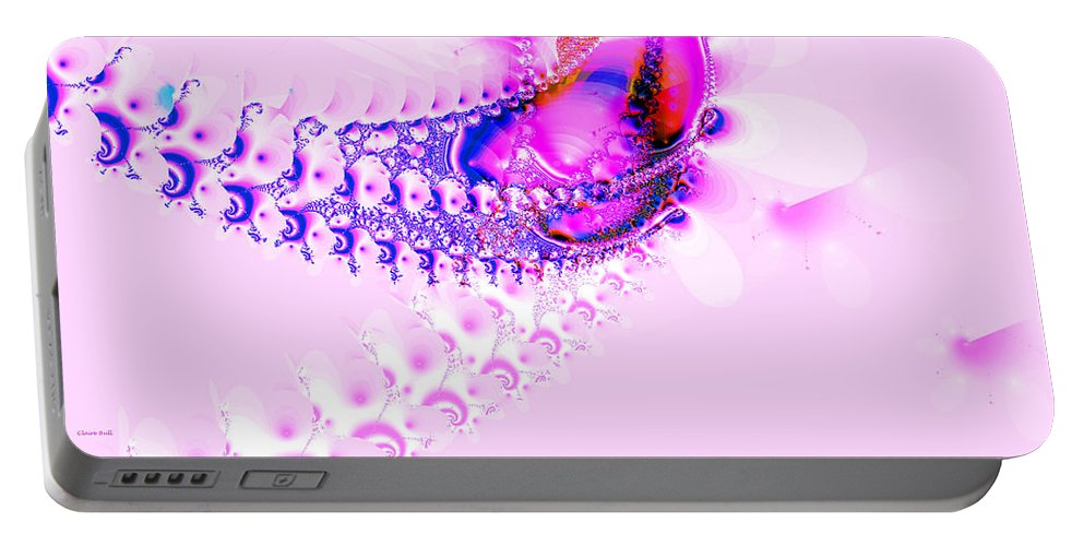 Pink Portable Battery Charger featuring the digital art Gone Fishing by Claire Bull