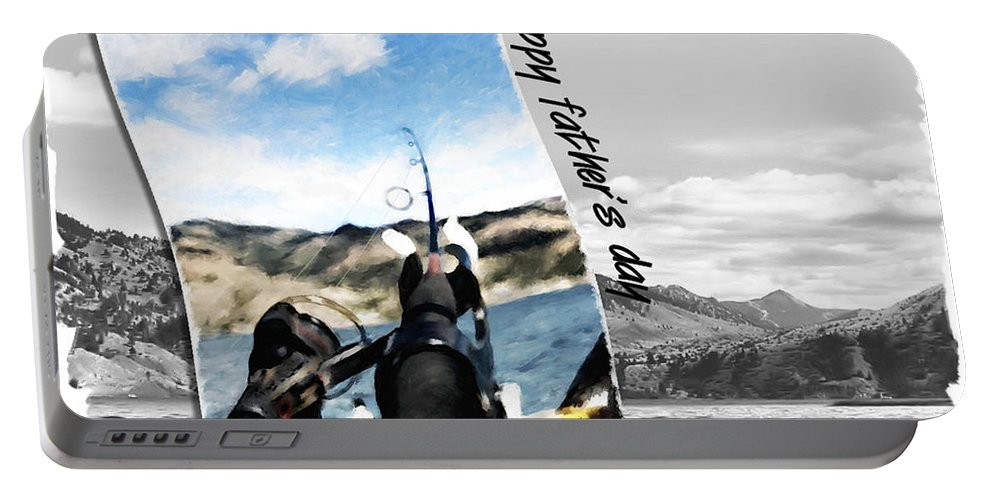 Father's Day Portable Battery Charger featuring the digital art Gone Fishing Father's Day Card by Susan Kinney
