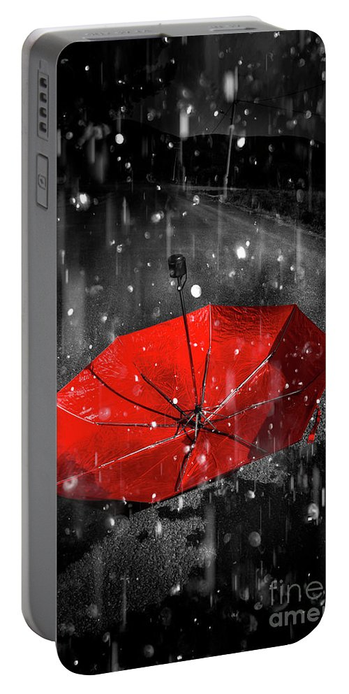 Red Portable Battery Charger featuring the digital art Gone With The Rain by Jorgo Photography - Wall Art Gallery