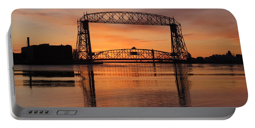 Aerial Lift Bridge Portable Battery Charger featuring the photograph Good Friday Morning by Alison Gimpel