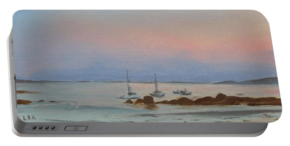 Seascape Portable Battery Charger featuring the painting Good Harbor by Lea Novak