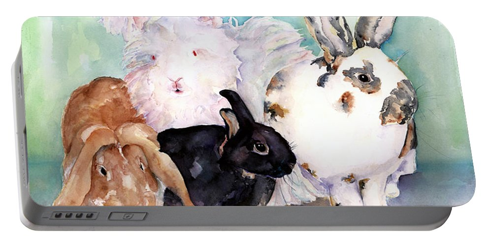 Animal Artwork Portable Battery Charger featuring the painting Good Hare Day by Pat Saunders-White
