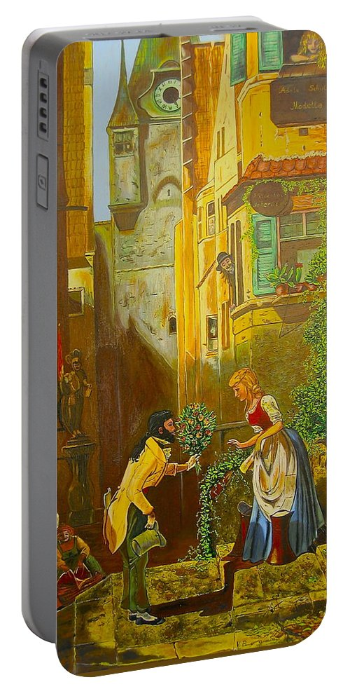 1700's European Village Portable Battery Charger featuring the painting Good Morning Dear by V Boge