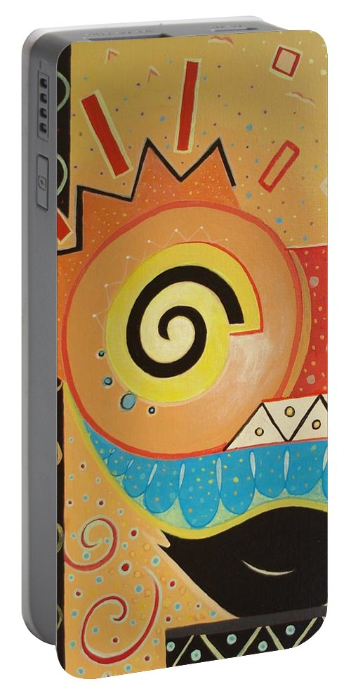 Rise And Shine Portable Battery Charger featuring the painting Good Morning by Helena Tiainen