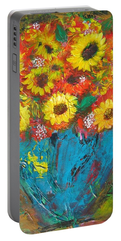 Acrylic Portable Battery Charger featuring the painting Good Morning Sunshine by Maria Watt