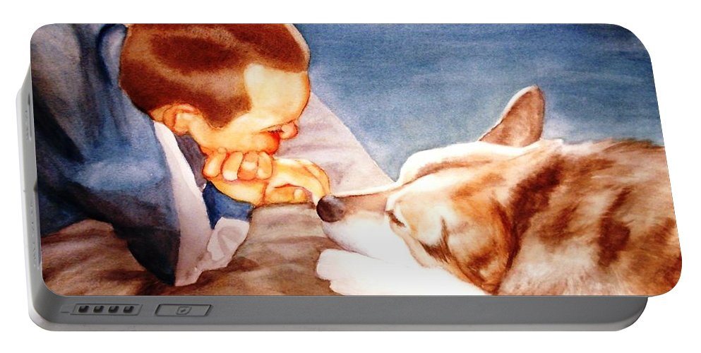 Boy & Dog Portable Battery Charger featuring the painting Goodbye Misty by Marilyn Jacobson
