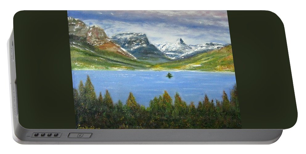 Landscape Portable Battery Charger featuring the painting Goose Island, 16x20, Oil, '08 by Lac Buffamonti