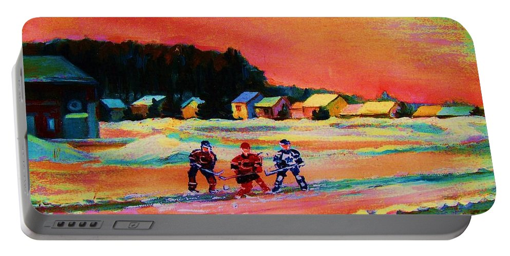 Hockey Landscape Portable Battery Charger featuring the painting Gorgeous Day For A Game by Carole Spandau