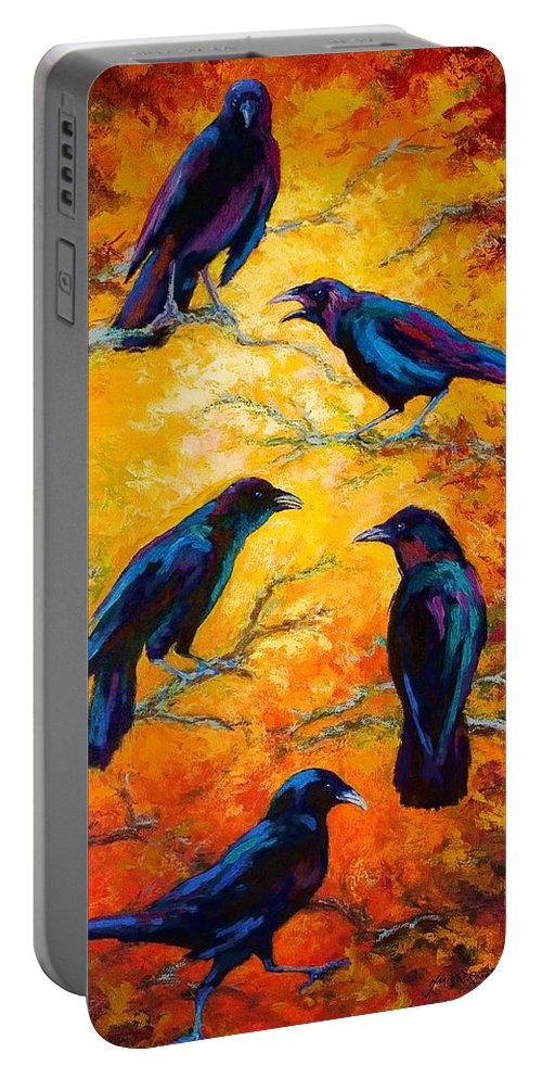 Crows Portable Battery Charger featuring the painting Gossip Column II by Marion Rose