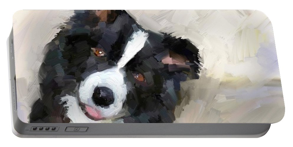 Border Collie Dog Sheepdog Portable Battery Charger featuring the digital art Got any sheep? by Scott Waters